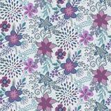 与美好的花和分支的无缝的样式 免版税库存照片