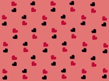 与美好的黑和桃红色心脏的华伦泰背景在传染媒介 库存照片