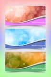 与美好的bokeh的色的横幅模板 免版税库存照片