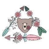 与羽毛和箭头漂泊样式的熊北美灰熊 向量例证