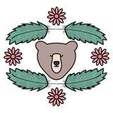 与羽毛和花漂泊样式的熊北美灰熊 库存例证