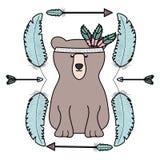 与羽毛帽子和箭头框架的熊北美灰熊 皇族释放例证