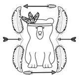 与羽毛帽子和箭头框架的熊北美灰熊 库存例证