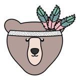 与羽毛帽子漂泊样式的熊北美灰熊 皇族释放例证