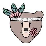 与羽毛帽子漂泊样式的熊北美灰熊 向量例证