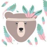 与羽毛帽子漂泊样式的熊北美灰熊 库存例证