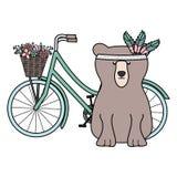 与羽毛帽子的熊北美灰熊在自行车漂泊样式 库存例证