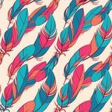 与羽毛的五颜六色的无缝的样式 向量例证