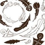 与羽毛的单色部族框架,手拉种族收集 库存例证