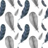 与羽毛的水彩时尚无缝的样式 织品背景 库存例证