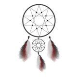 与羽毛的Dreamcatcher 当地美洲印第安人护符传染媒介例证 免版税库存图片