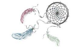 与羽毛,宝石的手拉的华丽Dreamcatcher 卡片wi 免版税库存照片