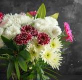 与翠菊、菊花和大丁草的美丽的花束 免版税库存照片