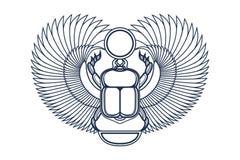 与翼、太阳和新月形月亮的甲虫金龟子 古老埃及文化 上帝Khepri太阳早晨黎明 象征,商标 向量例证