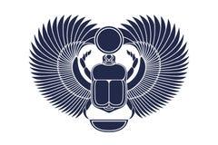 与翼、太阳和新月形月亮的甲虫金龟子 古老埃及文化 上帝Khepri太阳早晨黎明 象征,商标 Silhou 向量例证