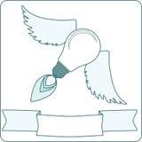 与翼和横幅的电灯泡 免版税库存照片