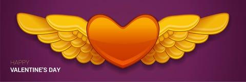 与翼的传染媒介红色心脏 免版税库存图片