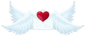 与翼的例证信封喜欢送爱和心脏的丘比特 皇族释放例证