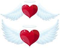 与翼的天使心脏 库存照片