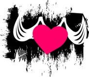 与翼的心脏飞行入您的心脏 适用于在T恤杉的印刷品 库存图片