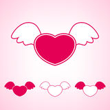 与翼的心脏,传染媒介例证 免版税库存照片