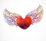 与翼的抽象心脏。传染媒介, EPS 10 免版税库存图片