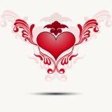 与翼的网眼图案心脏 向量 免版税库存照片