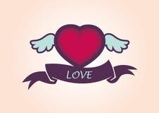 与翼的美好的心脏 免版税库存图片
