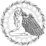 与翼的赤裸女孩天使 库存照片