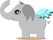 与翼的逗人喜爱的天使Elelphant 库存图片