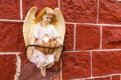 与翼的逗人喜爱的角度在红色墙壁上 免版税库存图片