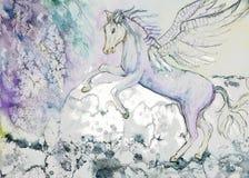 与翼的马在多暴风雨的天气 向量例证