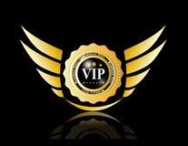 与翼的Vip徽章 免版税库存照片