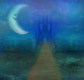 与老城堡和微笑的月亮的抽象风景 免版税图库摄影