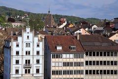 与老大厦的苏黎世都市风景,瑞士。 库存照片