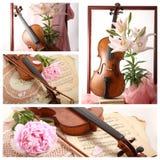 与老小提琴和花的拼贴画 库存照片