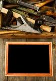 与老工具(飞机,锤子,剪刀的框架和 库存照片
