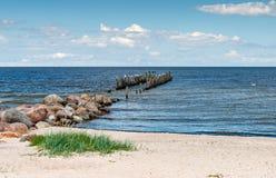 与老打破的码头的沿海海景 免版税库存照片