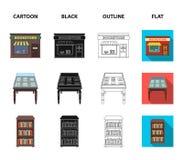与老文件,书架,文件夹,访客的一张桌 一个图书馆和书店集合汇集象在动画片 库存照片