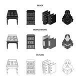 与老文件,书架,文件夹,访客的一张桌 一个图书馆和书店集合汇集象在黑色 库存图片