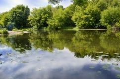 与老木小船的夏令时风景横跨河 免版税图库摄影
