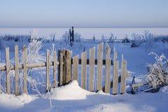 与老木篱芭的冬天landsgape在深雪和树冰 库存照片