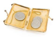 与老欧洲硬币的金黄钱包 免版税库存照片