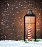 与老灯笼的圣诞节静物画在木背景 皇族释放例证