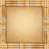 与老纸或帆布的正方形褐色干燥竹棍子框架 向量例证
