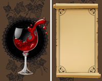 与老羊皮纸、葡萄、瓶和葡萄酒杯的酒类一览表与 免版税库存照片