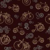 与老自行车和齿轮的无缝的样式 Steampunk样式 免版税库存照片