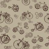 与老自行车和齿轮的无缝的样式 Steampunk样式 免版税库存图片