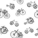 与老自行车和齿轮的无缝的样式steampunk 库存照片