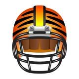 与老虎条纹的橄榄球盔 图库摄影